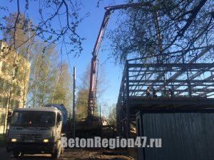 Подача 48 м3 бетона М350 на перекрытия, АБН-32, производственный ангар г. Луга